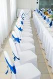 Blauer und weißer Innenraum des Restaurants stockfotos