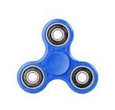 Blauer Unruhe-Spinner auf weißem Hintergrund lizenzfreie stockfotos