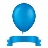 Blauer Vektorballon und -band Stockfotos