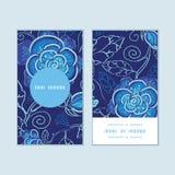 Blauer vertikaler runder Rahmen der Blumen des Vektors Nacht Lizenzfreies Stockfoto