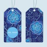 Blauer vertikaler runder Rahmen der Blumen des Vektors Nacht Stockfoto
