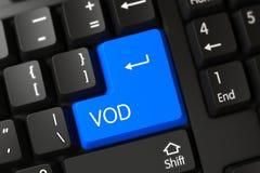 Blauer Vod-Schlüssel auf Tastatur 3d Stockfoto