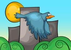 Blauer Vogel auf dem Hintergrund von Stadtlandschaft Stockfotografie