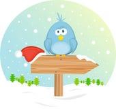 Blauer Vogel auf dem waymark lizenzfreie abbildung