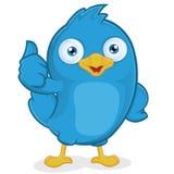 Blauer Vogel, der Daumen aufgibt Lizenzfreies Stockbild