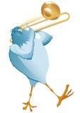 Blauer Vogel machen Musik mit Posaune Stockfotografie