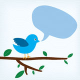 Blauer Vogel mit Mitteilungsblase Stockbild