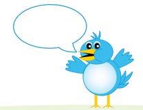 Blauer Vogel mit Wort-Luftblase stockfoto