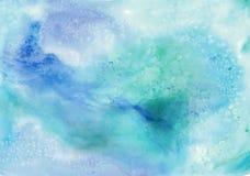 Blauer von Hand gezeichneter Aquarellhintergrund für Design stockfotografie
