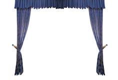 Blauer Vorhang lokalisiert auf weißem Hintergrund lizenzfreie stockfotografie