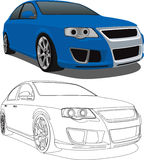 Blauer VW Passat Stockfotos