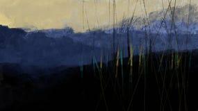 Blauer Wald mit Gebirgsnaturillustrationsbürsten-Schlagmannsonnenuntergang mit Bäumen lizenzfreie stockfotografie