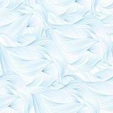 Blauer weißer Hintergrund der abstrakten Karikatur, Tapete Kritzeln Sie Mustermeereswellen, Ozean, Fluss, Wind Nahtlose Beschaffe Lizenzfreie Stockbilder