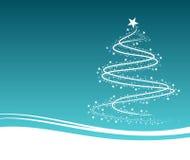 Blauer Weihnachtsbaum mit Blumen Stockfoto