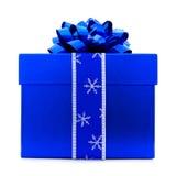 Blauer Weihnachtsgeschenk-Kasten stockfoto