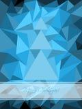 Blauer Weihnachtsgruß mit abstraktem Baum Stockbilder