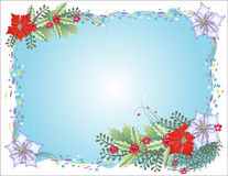 Blauer Weihnachtshintergrund mit Konfettis lizenzfreie abbildung