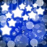 Blauer Weihnachtshintergrund mit Sternen Lizenzfreies Stockbild