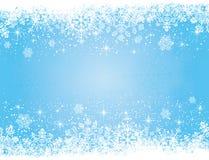 Blauer Weihnachtshintergrund mit Sternen und Schneeflocke Stockfoto