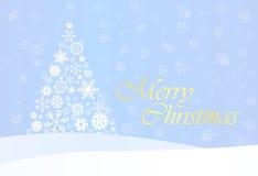 Blauer Weihnachtshintergrund mit weißem Baum Stockfoto