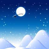 Blauer Weihnachtshintergrund mit Weihnachtsmann Lizenzfreie Stockbilder