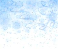Blauer Weihnachtshintergrund mit Wind und Schneeflocken Lizenzfreies Stockbild