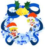 Blauer Weihnachtskranz und -Santa Claus Lizenzfreie Stockfotografie