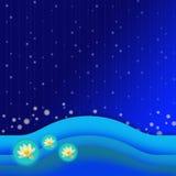 Blauer Wellennachtmusterhintergrund Stockfoto