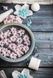 Blauer Wellness stellte mit Schüssel der Wasser- und Blumen-, Gesundheitswesen- und Körperbehandlung auf rustikalem hölzernem Hin Lizenzfreies Stockfoto