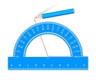 Blauer Winkelmesserbleistift des Zeichnungswinkels Stockfotos