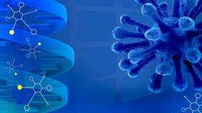 Blauer wissenschaftlicher Darstellungshintergrund mit Molekülen und DNA Stockfotografie