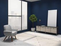 Blauer Wohnzimmerinnenraum lizenzfreie abbildung