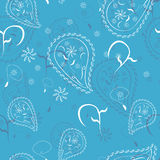 Blaues abstraktes Gekritzel blüht nahtloses Muster Stockbilder