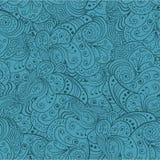 Blaues abstraktes nahtloses mit Blumenmuster. Vektor Lizenzfreies Stockbild