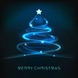 Blaues abstraktes Weihnachtsbaumdesign mit glänzenden Linien vektor abbildung