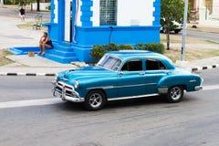 Blaues altes Auto Havanas Stockfotos