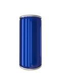 Blaues Aluminiumgetränk kann lokalisiert mit Beschneidungspfad Lizenzfreie Stockbilder