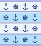 Blaues Ankersteuer des Marinethemahintergrundes Lizenzfreies Stockfoto