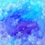 Blaues Aquarell gemalt Weihnachtswinter Lizenzfreie Stockfotos