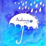 Blaues Aquarell gemalter Regenschirm und Regen Stockfotografie