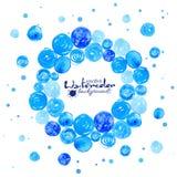 Blaues Aquarell kreist Rahmen ein Lizenzfreies Stockbild