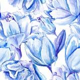 Blaues Aquarell Tulip Pattern Lizenzfreie Stockfotografie