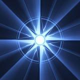 Blaues Aufflackern des Kompaßstern-Symbols Stockfoto
