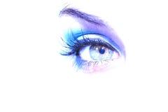 Blaues Auge, das vorwärts schaut Stockfotografie