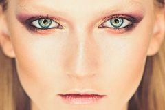 Blaues Auge der Frau mit schönen goldenen Schatten und schwarzem Eyelinermake-up Klassiker bilden Perfekte Brauen riechen und Lip lizenzfreie stockbilder