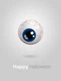 Blaues Auge der lustigen Karikatur mit Halloween-Wünschen Lizenzfreie Stockfotos