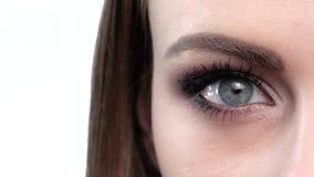 Blaues Augen-Make-up Schönes Augen-Make-up nahaufnahme stock video