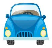 Blaues Auto auf weißem Hintergrund Stockfotografie
