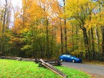 Blaues Auto neben Straße im Herbst Lizenzfreies Stockbild