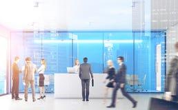 Blaues Büro mit Leuten, Front, doppelt Stockfoto